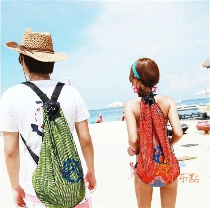 降價大促-乾濕包正韓沙灘後背背包大容量防水游泳包沙灘網包度假旅行背包情侶布包