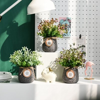 高仿花北歐清新氧氣綠色小盆景桌面窗臺綠色仿真盆栽電視柜酒架裝飾擺件