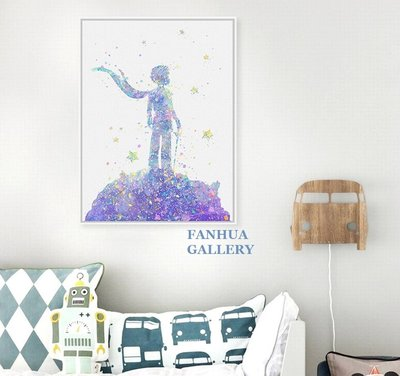 C - R - A - Z - Y - T - O - W - N 小王子創意水彩裝飾畫北歐文創藝術掛畫兒童房間裝飾掛畫