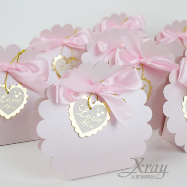X射線節慶王【B90003】婚禮小物系列-喜糖盒喜糖袋粉紅小花款~