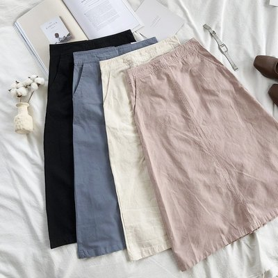 半身裙 針織裙推薦入手秋季實用百搭少女簡約高腰顯瘦純色牛仔中長款半身裙