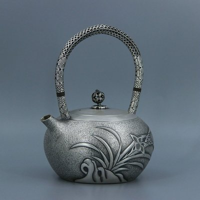 ㊣三顧茅廬㊣ 銀壺純銀燒水壺一體嘴銀壺 一張打銀壺  仿古隔熱工藝 鏤空提梁柄