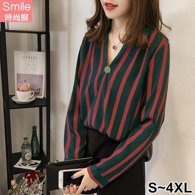 【V2572】SMILE-微甜秋語.扣子裝飾V領條紋長袖襯衫上衣