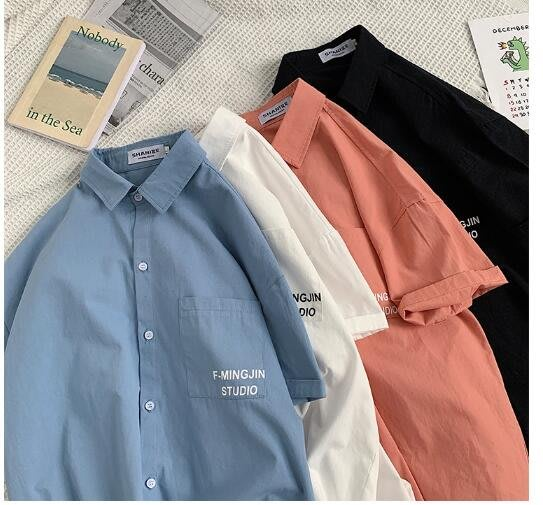 FINDSENSE X  男士 薄款 短袖襯衫 夏季男上衣情侶 純色襯衣潮襯衫
