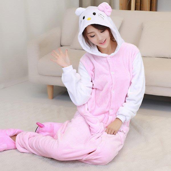 5Cgo 【鴿樓】會員有優惠 15587751337 豹紋貓款KT貓可愛卡通hello kitty珊瑚絨連帽連體睡衣