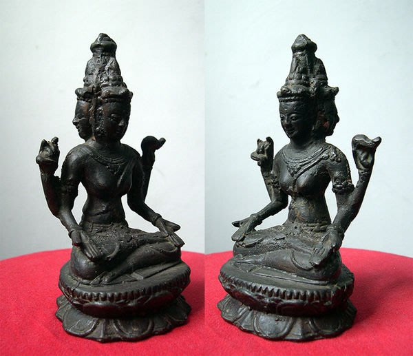 三面佛像老佛像緬甸民藝緬甸佛教藝術品類銅雕藝術品的鐵雕刻鐵雕【心生活美學】