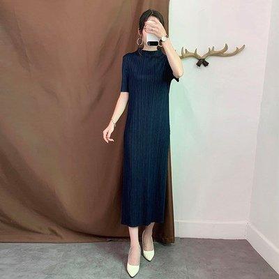 短袖洋 裝 連身 長裙-立領純色壓褶修身女裙子4色73yf21[獨家進口][米蘭精品]