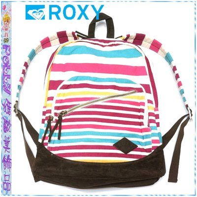 ☆POLLY媽☆歐美ROXY Luggage Long Time Backpack條紋帆布/深褐色麂皮後背包