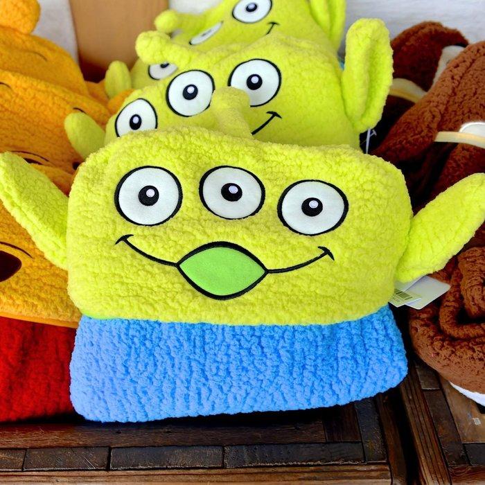 Ariel's Wish-日本東京迪士尼冬季限定玩具總動員三眼怪收納連帽披肩小毛毯蓋毯冷氣毯毯子2015年限定超級絕版款