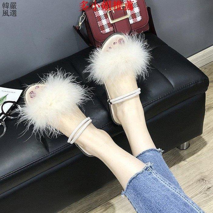 流行 韓版 復古 歐美風 港風新款韓版一鞋兩穿女涼鞋平底學生社會毛毛拖鞋女夏外穿女鞋子