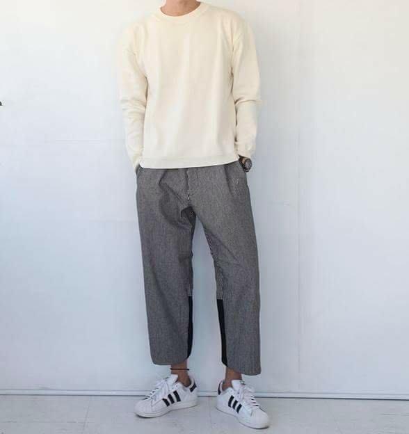高檔 韓國寬褲 條紋寬褲 拼接設計 男