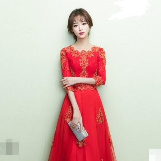 敬酒服新娘 新款紅色中式禮服長袖中國風結婚衣服女回門禮服—莎芭