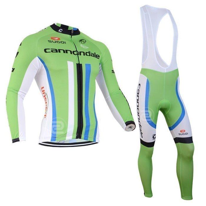 【綠色運動】2014款佳能戴爾cannondale白黑藍 自行車衣長袖款 自行車服 吊帶腳踏車衣 車衣車褲背帶長套裝
