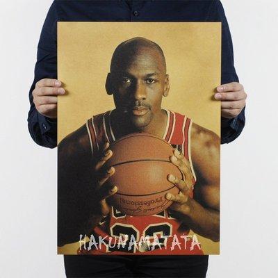 【貼貼屋】NBA Jordan 麥可·喬丹 23號 空中飛人 籃球大帝 懷舊復古 牛皮紙 海報 壁貼 831