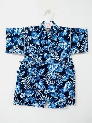 ✪胖達屋日貨✪褲款 120cm 海軍藍底 植物風 日本 男 寶寶 兒童 和服 浴衣 甚平 抓周 收涎 攝影