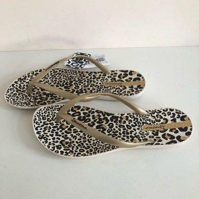 《現貨》Ipanema 女生 拖鞋 巴西尺寸33/34,35(舒適鞋底 豹紋點點印花 人字夾腳平底拖鞋-白色/金帶)