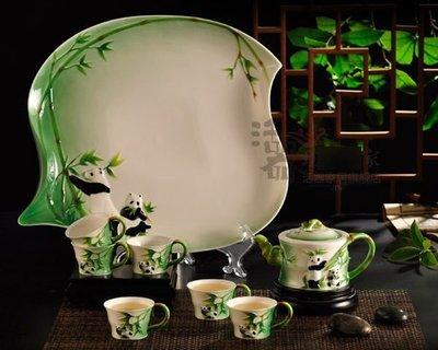 國寶掬翠 整套功夫茶具套裝 陶瓷茶壺禮品 琺瑯茶杯