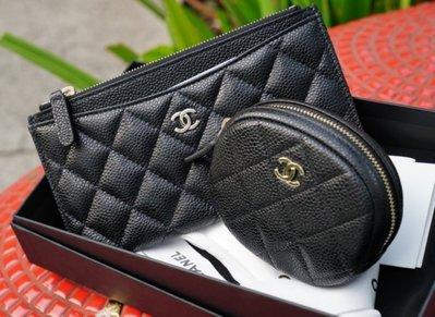 Chanel A68995 圓形拉鍊零錢包 黑金