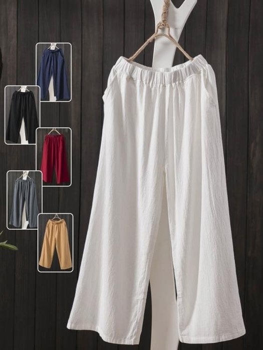 棉麻褲女2020夏新款韓版寬鬆大碼七分直筒簡約文藝九分亞麻闊腿褲(可免費開立發票)