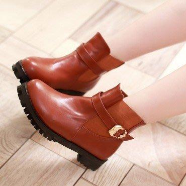 yes99buy加盟-純色搭扣粗跟短筒女靴