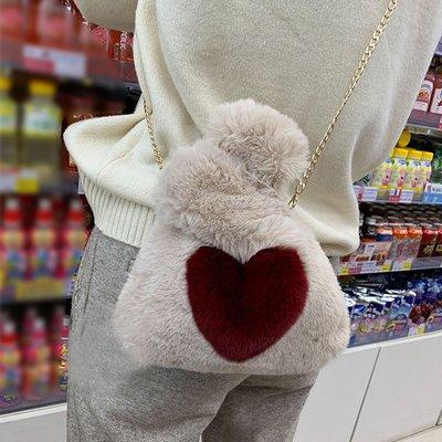 韓版毛毛包仿皮草兔毛毛絨愛心迷你小包斜背包手拎包手腕包
