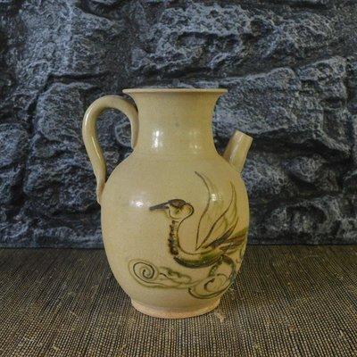 百寶軒 仿古瓷器復古做舊宋長沙窯風格手繪仙鶴紋執手壺古董古玩擺件 ZK1664