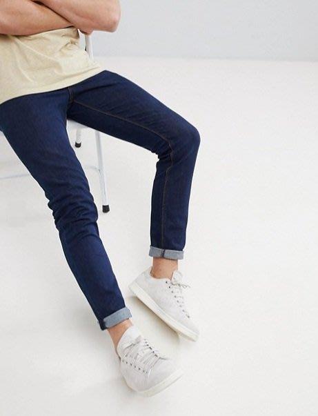◎美國代買◎ASOS反摺褲口經典藍刷色顯廋剪裁英倫時尚街風合身藍色牛仔褲~歐美街風~大尺碼