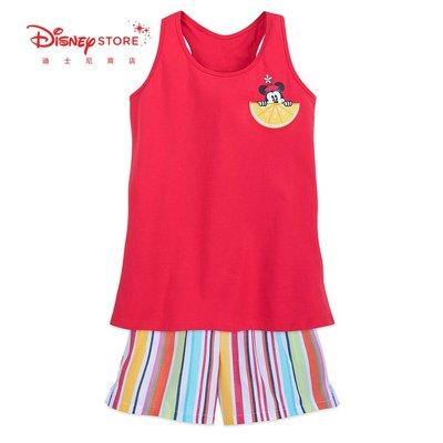 迪士尼商店 經典米妮兒童成人親子裝夏季家居服背心短褲睡衣套裝