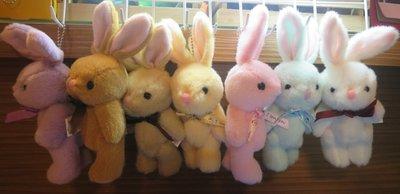 ///可愛娃娃///~3.5吋可愛的關結兔珠鍊吊飾~兔子~8款~手腳可轉動---約18公分