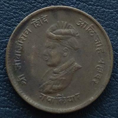 印度   瓜廖爾土邦     1942年    1/4 ANNA    銅幣   280-951
