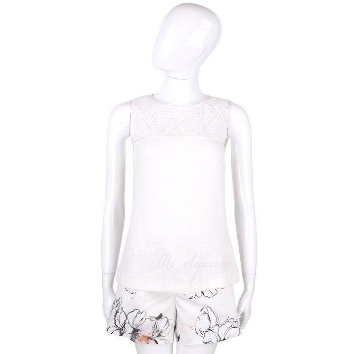 米蘭廣場 CLASS roberto cavalli 白色織花拼接網狀無袖上衣 1520556-20