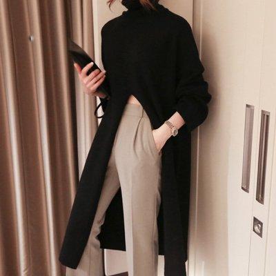時尚設計款外搭式長洋裝 高領高腰大開岔針織長連身裙 艾爾莎【TGK8612】