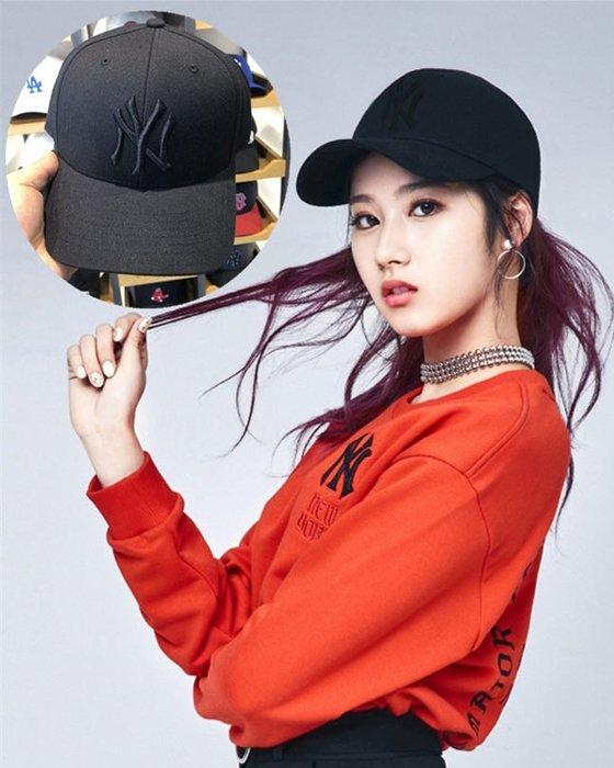 MLB 紐約洋基隊 TWICE代言棒球帽 全黑 現貨!!