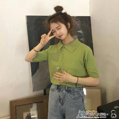 polo衫 古著感少女翻領t恤女短袖polo衫港味寬鬆抹茶綠ins牛油果綠色上衣qqshg