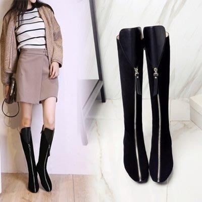 真皮長靴 低跟靴子-歐美騎士風時尚熱銷女鞋73iv38[獨家進口][米蘭精品]