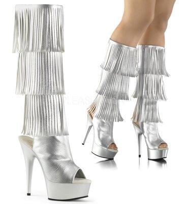 Shoes InStyle《六吋》美國品牌 PLEASER 原廠正品流蘇厚底高跟魚口及膝中長筒馬靴 出清『銀色』