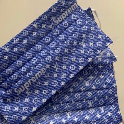 [韓娜]丹寧仿牛仔布紋老花收藏款 L*/ &V字樣成人平面口罩3片ㄧ組ㄧ次性口罩非醫療(搜尋🔍韓娜口罩)絕美中之絕版款等您來收藏衛生品