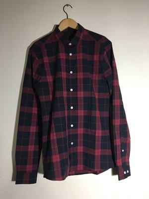 ASOS Skinny Shirt In Navy Check 窄版藍紅格紋襯衫 S
