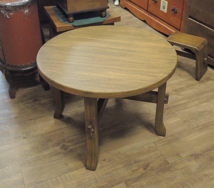 原木圓桌 實木矮桌 小圓桌 泡茶桌 休閒桌 茶几桌 實木桌 矮木桌 圓木桌 沙發桌 木料厚實傳統榫接 古趣盎然