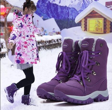 雪靴 戶外雪地靴女防水防滑東北旅遊加絨保暖登山鞋 滑雪鞋 棉鞋 大尺碼35-42碼—莎芭