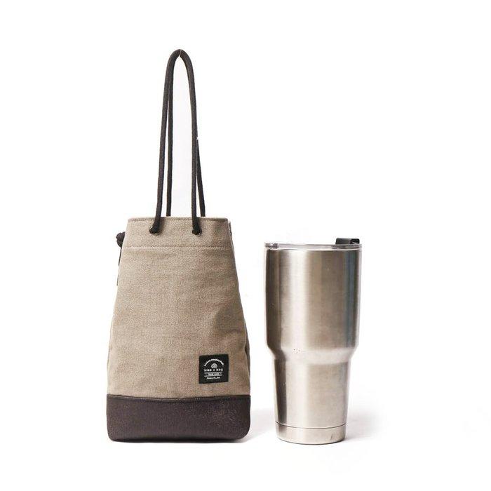 點子包【icleaXbag】飲料提袋 簡約飲料隨行袋 手搖 小物袋 小酒袋 無塑 可刻字 卡布奇諾 DG31
