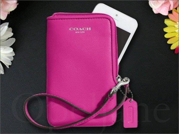 官網現貨真品 COACH 66213 桃紅色真皮手拿包手腕包萬用包多卡片夾層放 iphone 4 5 愛COACH包包