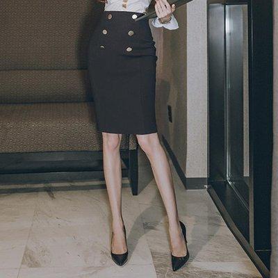 短裙2018夏季新款女裝韓版高腰修身雙排扣OL氣質職業包臀半身裙一步裙