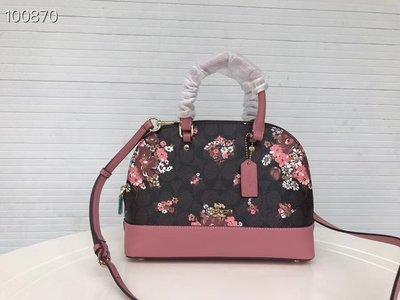 風格 COACH 全新正品 31968 花卉印花女士手提袋 斜肩包 時尚外出貝殼包 兩款可選 全場特價 附購買證明