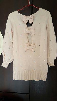粉色長版針織毛衣上衣