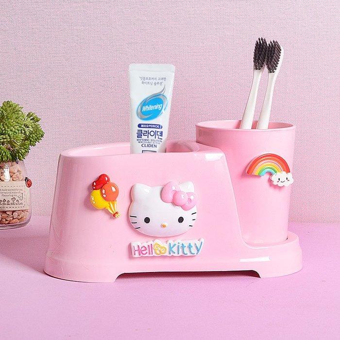 KITTY創意卡通牙刷杯收納架情侶牙具洗漱可愛衛生間漱口杯套裝置物架女