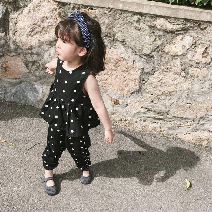 夏款 韓版 2-6歲女寶寶小童波點圓點套裝背心+九分褲