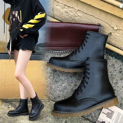 冬季保暖女靴 馬丁鞋 長靴機車靴 韓版百搭馬丁靴女春秋百搭英倫風帥氣機車靴系帶短靴女單靴子