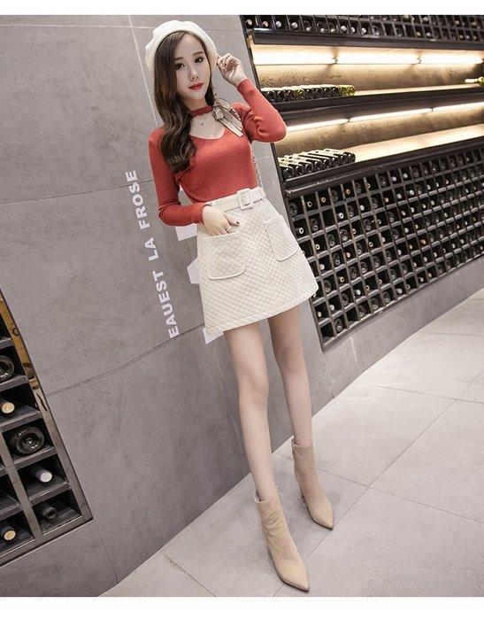 東大門平價鋪   金絲絨加厚半身女短裙,秋冬裝高腰修身顯瘦夾棉菱格A字裙子