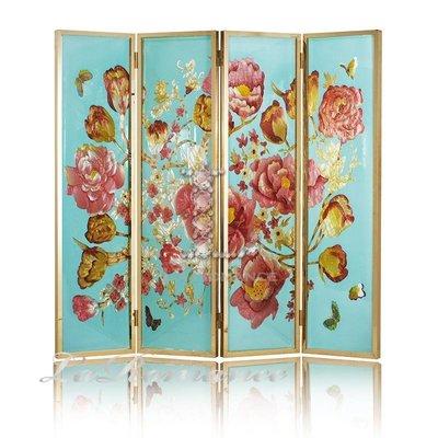 【芮洛蔓 La Romance】手工彩繪玻璃藝術屏風 - 奼紫嫣紅